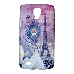 Peacock Feather White Rose Paris Eiffel Tower Samsung Galaxy S4 Active (I9295) Hardshell Case