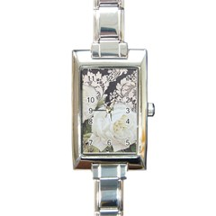 Elegant White Rose Vintage Damask Rectangular Italian Charm Watch