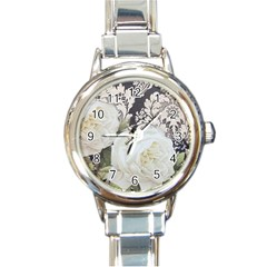 Elegant White Rose Vintage Damask Round Italian Charm Watch