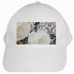 Elegant White Rose Vintage Damask White Baseball Cap