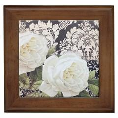 Elegant White Rose Vintage Damask Framed Ceramic Tile