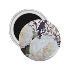 Elegant White Rose Vintage Damask 2.25  Button Magnet