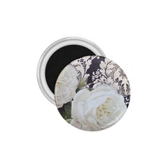 Elegant White Rose Vintage Damask 1.75  Button Magnet