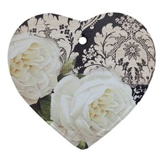 Elegant White Rose Vintage Damask Heart Ornament