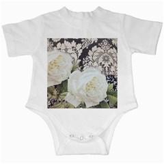 Elegant White Rose Vintage Damask Infant Creeper