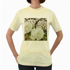 Elegant White Rose Vintage Damask  Womens  T Shirt (yellow)