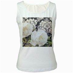 Elegant White Rose Vintage Damask Womens  Tank Top (White)