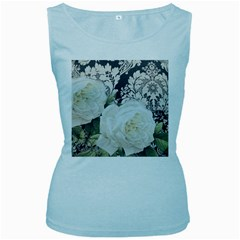 Elegant White Rose Vintage Damask Womens  Tank Top (Baby Blue)