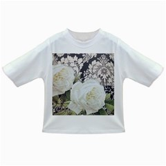Elegant White Rose Vintage Damask Baby T-shirt