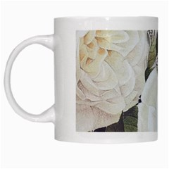 Elegant White Rose Vintage Damask White Coffee Mug