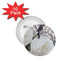Elegant White Rose Vintage Damask 1.75  Button (10 pack)