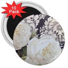 Elegant White Rose Vintage Damask 3  Button Magnet (10 Pack)