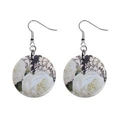 Elegant White Rose Vintage Damask Mini Button Earrings
