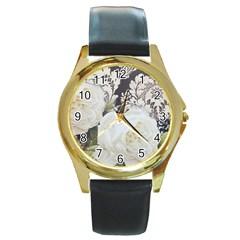 Elegant White Rose Vintage Damask Round Metal Watch (Gold Rim)