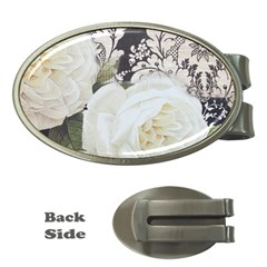 Elegant White Rose Vintage Damask Money Clip (Oval)