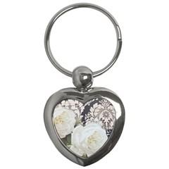 Elegant White Rose Vintage Damask Key Chain (Heart)