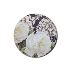 Elegant White Rose Vintage Damask Drink Coasters 4 Pack (Round)