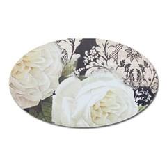 Elegant White Rose Vintage Damask Magnet (Oval)