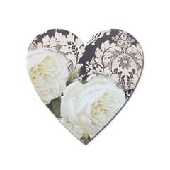 Elegant White Rose Vintage Damask Magnet (Heart)