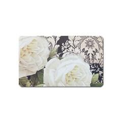 Elegant White Rose Vintage Damask Magnet (Name Card)
