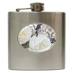 Elegant White Rose Vintage Damask Hip Flask
