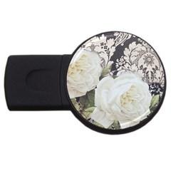 Elegant White Rose Vintage Damask 1GB USB Flash Drive (Round)