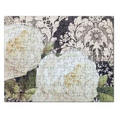 Elegant White Rose Vintage Damask Jigsaw Puzzle (rectangle)