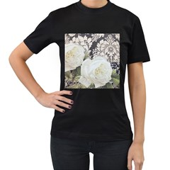 Elegant White Rose Vintage Damask Womens' Two Sided T-shirt (Black)