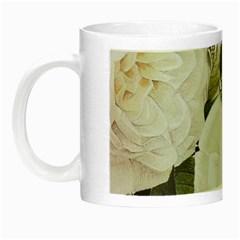Elegant White Rose Vintage Damask Glow In The Dark Mug