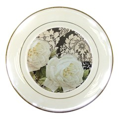 Elegant White Rose Vintage Damask Porcelain Display Plate