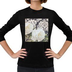 Elegant White Rose Vintage Damask Womens' Long Sleeve T-shirt (Dark Colored)