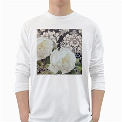 Elegant White Rose Vintage Damask Mens' Long Sleeve T Shirt (white)