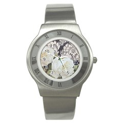 Elegant White Rose Vintage Damask Stainless Steel Watch (Unisex)