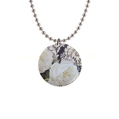 Elegant White Rose Vintage Damask Button Necklace