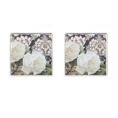 Elegant White Rose Vintage Damask Cufflinks (Square)