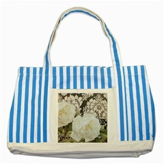 Elegant White Rose Vintage Damask Blue Striped Tote Bag