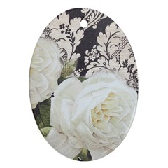 Elegant White Rose Vintage Damask Oval Ornament (two Sides)