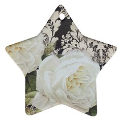 Elegant White Rose Vintage Damask Star Ornament (two Sides)