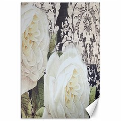Elegant White Rose Vintage Damask Canvas 20  X 30  (unframed)