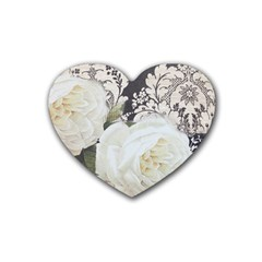 Elegant White Rose Vintage Damask Drink Coasters 4 Pack (Heart)