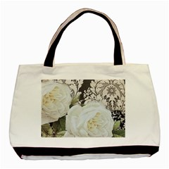 Elegant White Rose Vintage Damask Twin-sided Black Tote Bag