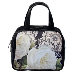 Elegant White Rose Vintage Damask Classic Handbag (One Side)