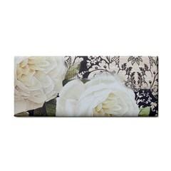 Elegant White Rose Vintage Damask Hand Towel