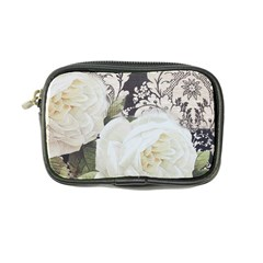 Elegant White Rose Vintage Damask Coin Purse