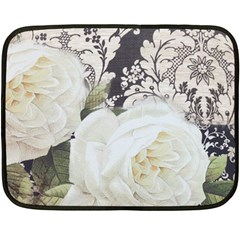 Elegant White Rose Vintage Damask Mini Fleece Blanket (Two Sided)