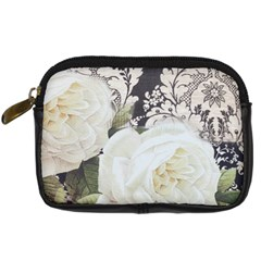 Elegant White Rose Vintage Damask Digital Camera Leather Case