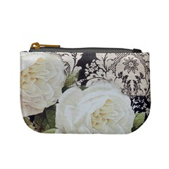 Elegant White Rose Vintage Damask Coin Change Purse