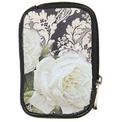 Elegant White Rose Vintage Damask Compact Camera Leather Case