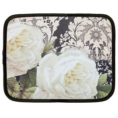 Elegant White Rose Vintage Damask Netbook Case (XL)