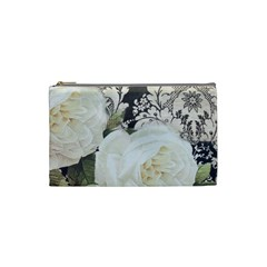 Elegant White Rose Vintage Damask Cosmetic Bag (small)
